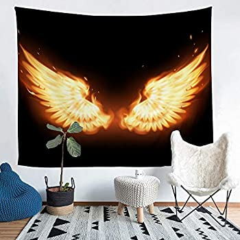 Castle Fairy Flame Wings Black Background Tapestry Home Decor Fire Angel Wing Party Room Background Wall Hanging Cloth Microfiber Ultra Soft Tapestries M 59.1inches x 59.1inches