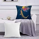 Ccstyle Funda de Cojín Funda de Almohada del Hogar Colorido Acuático Koi Pez Japón Animales Fauna Silvestre Asia Asia Hermosa Carpa Square Soft and Cozy Pillow Covers,