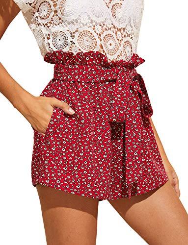 Romwe Women's Casual Elastic Waist Summer Shorts Jersey Walking Shorts Red Floral Pocket L