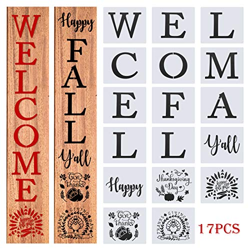 Thanksgiving Painting Stencils,Fall Welcome Sign Stencils, Yall Stencils for Painting on Wood, Fabric,Wall,Window(17Pcs)