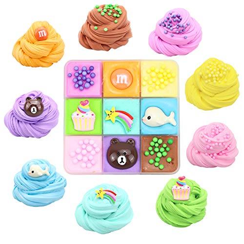 SWZY Cloud Slime,Puré Surtido+Fruta+Animal,Suave e Ideal para aliviar el estrés,Arcilla perfumada para Bricolaje de Slime de Mantequilla para Adultos y niños 9 Colores