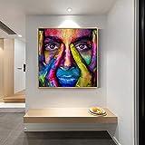 ganlanshu Pintura sin Marco Sala de Estar decoración del hogar con Caras Modernas Graffiti Wall Art Lienzo Pintura Carteles e Impresiones ZGQ4059 50X50cm
