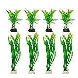 Piante per acquario, 8 pezzi, piccole piante artificiali in plastica, per acquario, paesaggio acquatico, per piccoli serbatoi (8 pz/set verde)