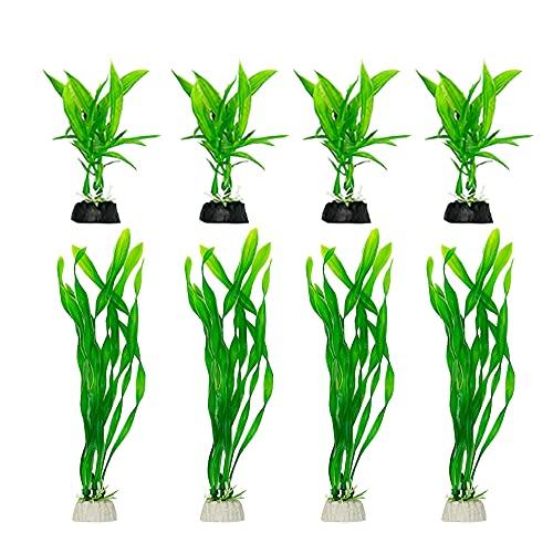 Plantas de acuario decoraciones de pecera 8pcs pequeñas plantas artificiales de plástico peces peces de agua para tanque pequeño (8pcs/Green Set)