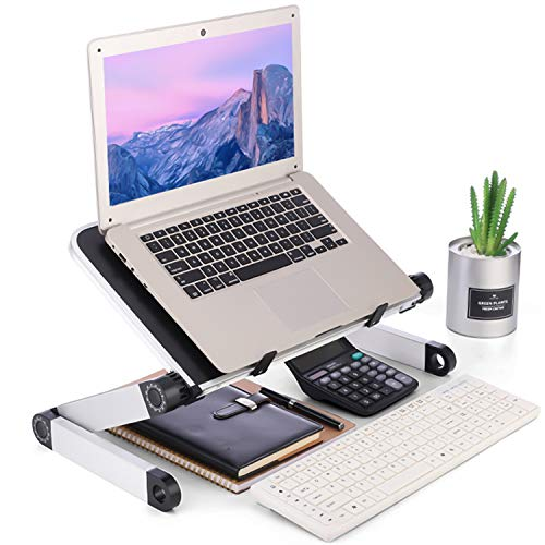 360 Degree Adjustable Foldable Laptop Support Desk Stand Holder Riser for Home Office School Indoor Outdoor Use Black
