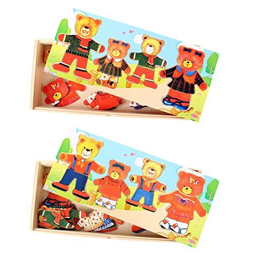 I3C Puzzle de Oso de Madera de Vestir para Niños Juego de Rompecabezas Juguetes Educativos Regalo