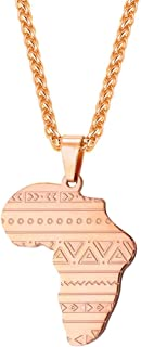 African Map Pendant Necklace with Free Rope Chain 22