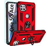 Moto One 5G Ace Case,with HD Screen Protector,YZOK [Military Grade] Ring Car Mount Kickstand Hybrid Hard PC Soft TPU Shockproof Protective Case for Motorola Moto One 5G Ace (Red)