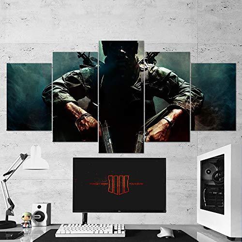 Call of Duty Wall Art - Lienzo Decorativo para Pared, diseño de Call of Duty Black Ops (5 Piezas, tamaño pequeño de 23 x 13 Pulgadas)
