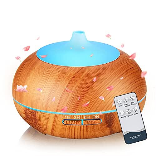 SmartDevil Difusor de Aceites Esenciales, Humidificador 500mL sin BPA, Humidificadores Ultrasónicos con Temporizador, Difusor de Aroma con 7 Colores LED Silencioso para Yoga, Hogar, Oficina, SPA