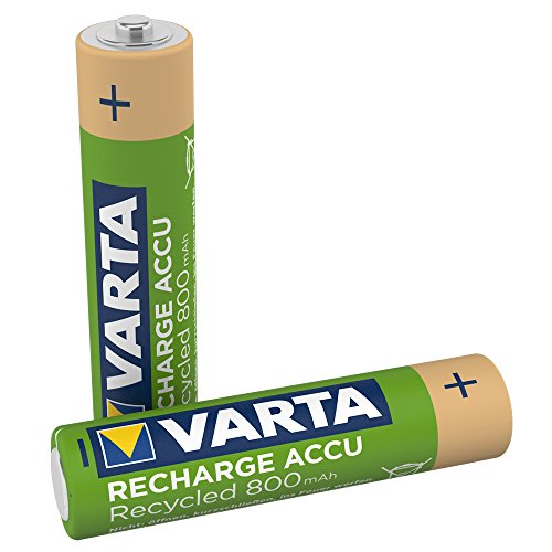 VARTA Recharge Accu Recycled wiederaufladbar, Ready-To-Use vorgeladener AAA Micro Ni-MH Akku (2er Pack, 800mAh) - aus 11% recyceltem Material - wiederaufladbar ohne Memory Effekt