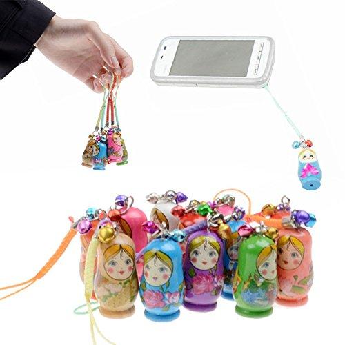 Lot de 6 poupées matriochka à suspendre avec sangle - Porte-clés Kokeshi en bois - Accessoires pour sac à main, téléphone, jouets pour enfants