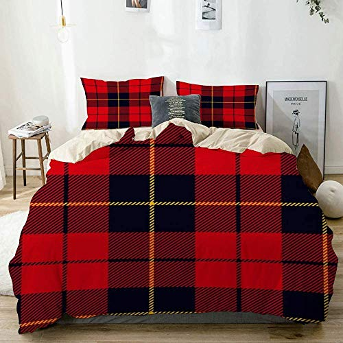 TMSSUNCI Quilt Cover,Tartan Scottish Plaid Red Black Yellow Wallace Abstract Pattern Line Antique Classic British Celtic,Modern Duvet Cover Bedding Sets Elegant 2-Piece (Twin/68'x88')