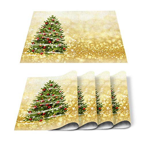 Placemats Set of 4 for Dining Table Sparkling Gold Background for Christmas Tree Cotton Linen Heat Resistant Mats for Kitchen Table Decoration Washable 18L x 12W