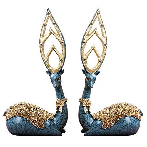 W.YJSUN Creative Couple Européen Bleu Elk Décoration 2 Pcs Résine Maison Vin Cabinet Décoration Cadeau