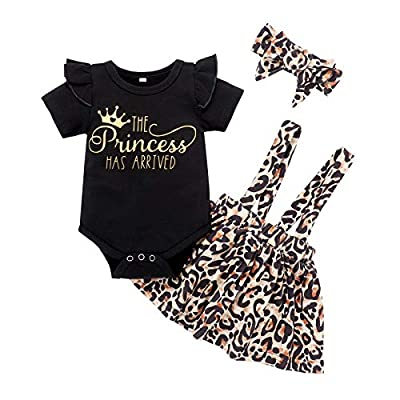 Infant Baby Girl Clothes Summer Outfits Cute Ruffle Romper Short Sleeve Leopard Skirt Headband 3PCS Sets (3-6 Months) by