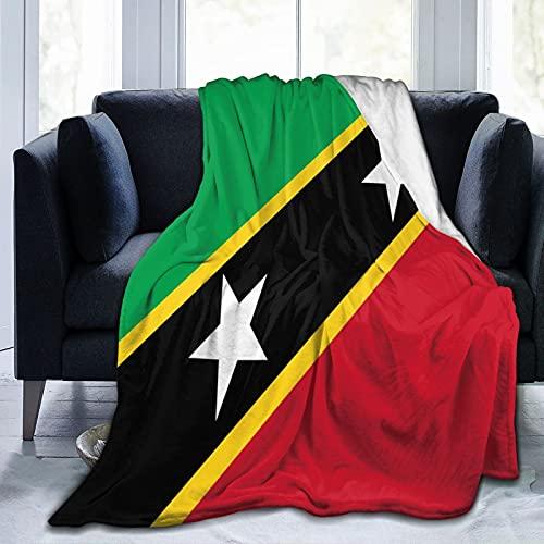 Flanelldecke mit Flagge von Saint Kitts und Nevis, flauschig, bequem, warm, leicht, weich