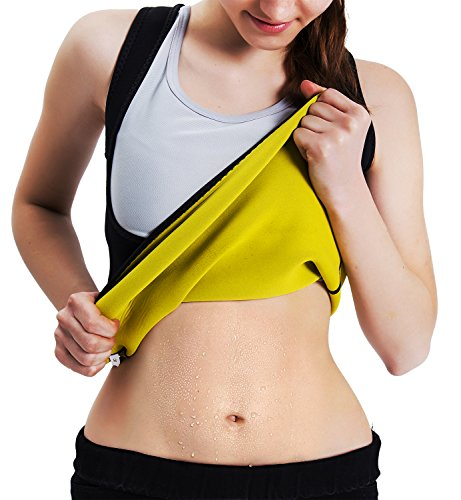 Roseate Women's Body Shaper Hot Sweat Workout Tank Top Slimming Vest Sauna Shirt Neoprene Compression Shapewear, No Zipper, Black/Yellow L