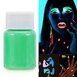 Simlug Pintura de Cara y Cuerpo de neón Brillante, 6 Colores Pintura Corporal Fluorescente de Halloween Pigmento Luminoso Maquillaje de Color Que Brilla en la Oscuridad(Verde (# 2))