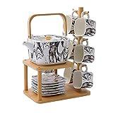 Ceramica Coffee Tea Set Piazza Marmo Modello Coffee Cup Combinazione Set Coffee Pot Cup casa Afternoon Tea Set 14pcs (Color : TYPE#A)