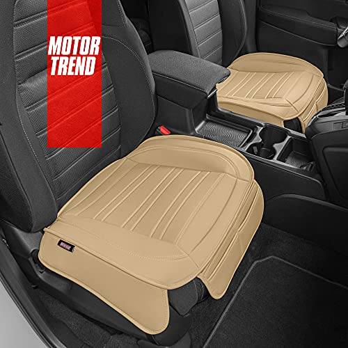 Motor Trend Beige Faux Leather Seat Covers for Front Seats, 2-Pack – Universal Padded Car Seat Cushions with Storage Pockets, Premium Seat Cushion for Truck Auto Van SUV