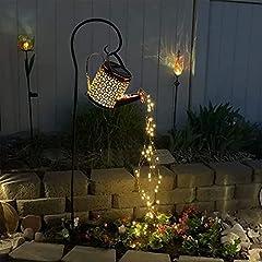星シャワーガーデンアートライト、装飾屋外ガーデニング芝生ランプソーラーLEDライト、LED妖精ライト ソーラーライト シャワー 散水 庭園灯 飾りライト 置物ライトled 暖色系 古スタイル 金属製 自動点灯 ガーデンライト ランタン 防水 屋外 装飾用 花 植物