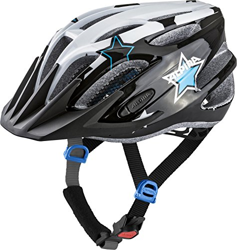 Alpina Unisex Jugend FB JR. 2.0 Flash Fahrradhelm, Black-White-Blue, 50-55 cm