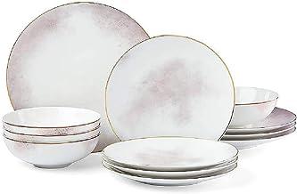 Lenox Trianna Salaria 12 Piece Dinnerware Set, 16.2 LB, Taupe/Grey