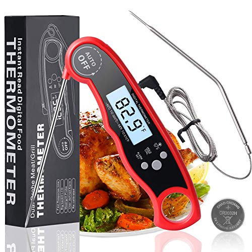 Food Meat Thermometer Instant Read - Digital Dual Probe Оven Safe Leave in, Waterproof Kitchen Сooking Thermometer with Alarm for Grilling BBQ Smoker Candy Liquids (Black)