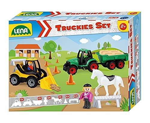 Lena 01632 Truckies Set Bauernhof 13 teilig,...