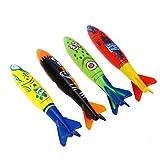JIAHG 4Pcs Tauchen Spielzeug Torpedo Unterwasser Schwimmbad Spielzeug Kinder Sommer Tauchset