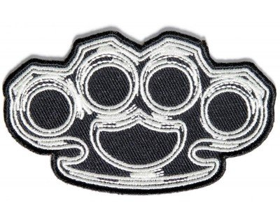 """Brass Knuckles Patch 3.5""""x2"""" Inch Embroidered"""