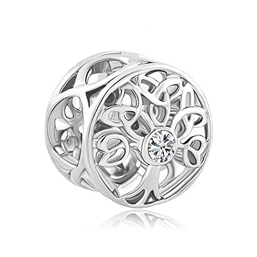ReisJewelry Celtic Knot Charms Filigree Family Tree of Life Charm Beads for Snake Chain Bracelet (White)