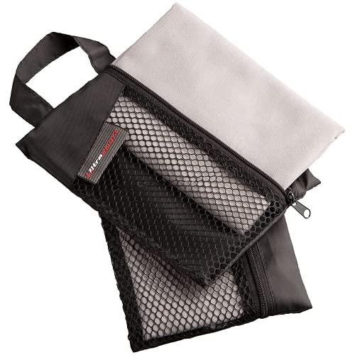 Ultrasport Mikrofaser 2er Set Fitnesshandtuch,inklusive Tragetasche und Drucknopfanhänger, schnell trocknend sowie Ultraleicht, Ideal als Yogahandtuch für Reisen, Grau, 30 x 60 cm