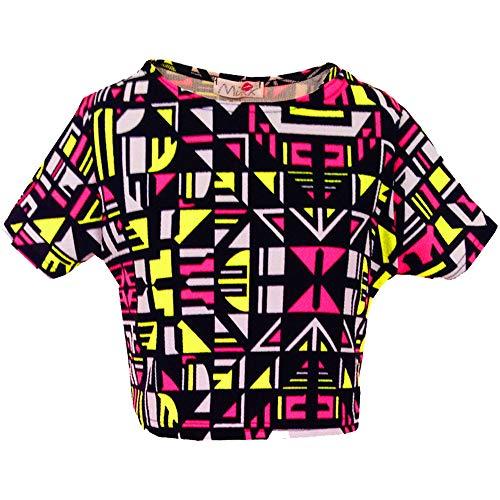 Kids Meisjes Neon Roze & Geel Aztec Tribal Print Skater Rok Midi Jurk Crop Top Legging Leeftijd 7-13 Jaar