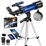 Telescopes for Kids Beginners,70mm Astronomy Refractor Telescope with Adjustable Tripod Portable Scope for Adult Children (Blue)