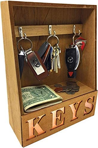 Light Up LED Key Organizer Desktop Tabletop Key Holder Keys Hanger 3 Hooks Rack with Small Shelf product image