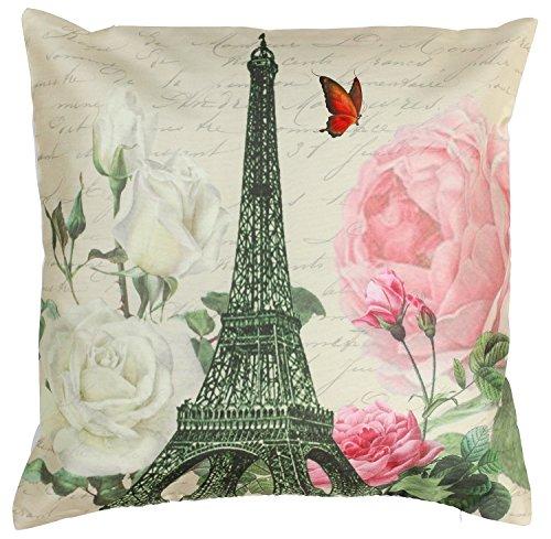 SouvNear kleurrijke kussensloop, kussensloop, kussenovertrek, Throw Pillow - 45 x 45 cm - bloem en Eiffeltoren decoratie met verborgen ritssluitingen voor bank, bank, bank, schommelstoelen - beddengoed en woonkamer accessoires