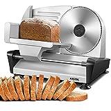 Allesschneider Brotschneidemaschine Elektrisch, Aufschnittmaschine mit Einstellbare Schnittdicke(0-15mm), Wurstschneidemaschinee mit Scharfe Edelstahlklinge zum Fleisch/Brot/Obst/Wurst, 150W, AICOK