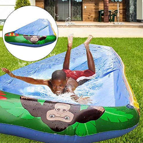 FENGLI El césped se desliza el agua inflable con el tobogán de agua con la pulverización y la almohadilla inflable del choque para los niños, adultos, diversión de agua de verano juguetes para al aire