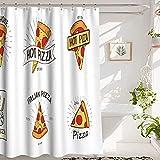Duschvorhang Pizza Shower Curtain Bathroom Shower Curtain, Pizzeria Logotypes Set, Premium Polyester Waterproof Pizza Shower Curtain, 72x72 in, White