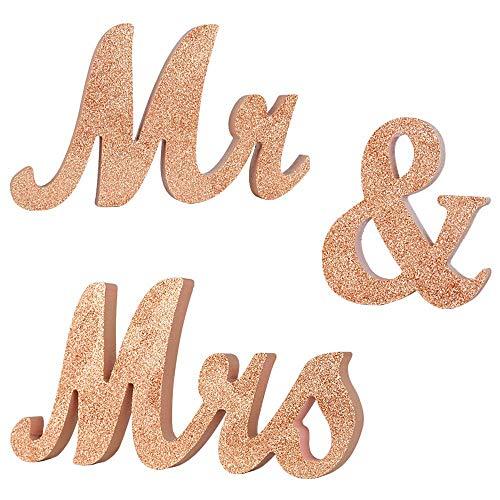 MR & Mrs Letras Bodas Decoracio, Decoraciones de Mesa para Bodas, Mr & Mrs Letters Decorative, Cartas Wedding Photo Props Decoración de pancartas, Regalos de Bodas (Oro Champagne) 🔥
