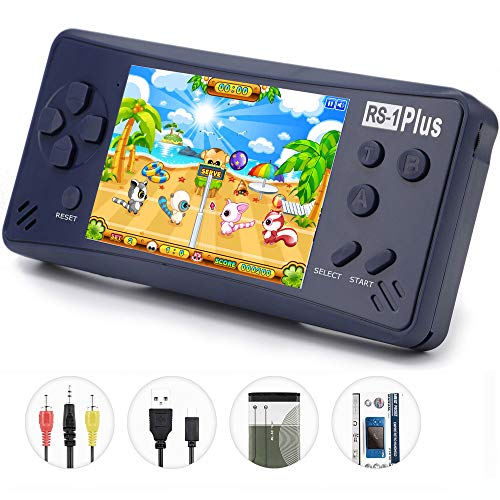 QINGSHE Handheld Game Console for Kids Adults, RS-1 Plus Portable Classic Game Consoles Built in 218 Games 3.5 inch 1 USB Charge Retro Arcade Video Game Player, Birthday Gift for Children-Royal Blue