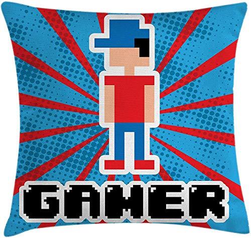 Funda de almohada para juegos de vídeo, funda de cojín, rayas azules y rojas, estilo retro de los 90 juguetes con tapa, funda de almohada decorativa cuadrada de 16 x 16 pulgadas, color azul vermellón, blanco y negro