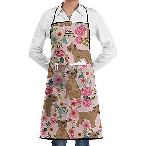 GWrix Waterdicht keukenschort met zichtbaar middenvak en lange banden voor het koken Salon Jongens-Brussel Griffon Hond Bloemen-Vloeibare Drop Resistant,Comfortabele Onderhoudsschorten