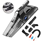 YANTU Car Vacuum Cleaner 4500PA Cordless 4 in 1 Handheld Vacuum Cleaner with Car Inflator, LED Light, LCD Screen for Tire Pressure