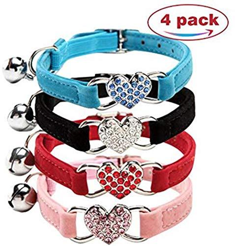 chenyu Collar para gato, perro, collar ajustable con campana y colgante de corazón con piedras de cristal, tela de terciopelo suave, collar seguro, 21-26 cm