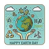 Juego de 6 Posavasos para Bebida,Alfombrilla Cuadrada para Taza de Happy Earth Day para Aislamiento,protección contra el Calor y decoración de Muebles