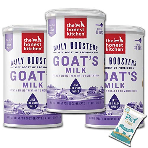 (3 Pack) The Honest Kitchen Probiotic Goat s Milk  Beef Bone Broth and Herbal Digestive Supplement Pet Food for Cats and Dog with 10ct Pet Faves Wipes (Probiotic Goat s Milk)