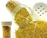 Gold Glitter Glimmer Streudose 10g / 50g / 100g / 240g Glitzer Pulver Deko Nail Art Pulver Puder Nageldesign Glitterstaub Best Ware (24 Stück / 240 Gramm)